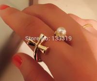 Fashion  Popular mash Queen Fan big cross pearl ring opening ring joints  Free shipping