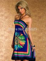 2015 New arrival Summer Fashion Retro plug size SunDresses Vintage Paisley Print Hippie Bohemian Knee-Length Beach Dress