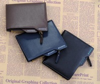 Genuine leather brief paragraph men wallets brand zipper purse leisure multi-function money clip billfold free shipping