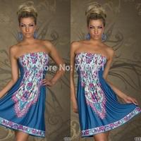 2014 Fashion Retro Vintage Paisley Print V Neck Hippie Boho Summer Dress Women Casual Holiday Strapless Dress