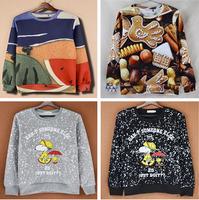 Street wear Fashion Women 3d sweatshirts cartoon hoody women hoodies sweater tops personality nice watermelon  print