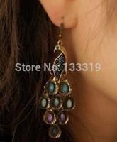 Fashion  Miss Kong Que elegant retro national wind diamond earrings spring wild temperament  Free shipping