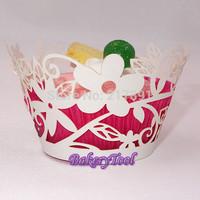So Cute Flower Laser Cut Cupcake Wrapper, Muffin Cake Wraps