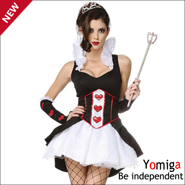 Sleevelss the queen of red heart costumes black and white sexy poker cosplay party costumes adult women costumes halloween queen(China (Mainland))