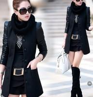 Fashion medium-long 2014 women's fashion slim woolen overcoat PU patchwork leather woolen outerwear