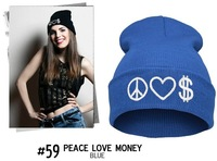 Hats for New Arrival Selling Winter for 2014 Warm Fashion Artifact Wool Hat Hip Hop Knitted Beanie Skullies Peace Love Money Cap