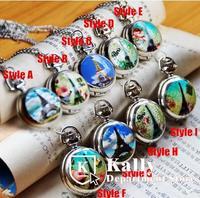 Trumpet Eiffel Tower enamel pocket watch necklace vintage jewelry sweater chain pocket watch