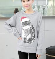 Free shipping 2014 new fashion autumn winter hoodies sweatshirts for women cat animal character printed sudaderas mujer