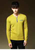 Free shipping 2014 Autumn Winter New Candy Colors V Neck Knitted Sweater Men Wholesale Pullover Men Blusas Masculinas