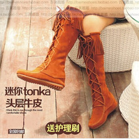 Tassel boots flatbottomed thangka vintage high-leg boots mini Moccasins over-the-knee cowhide genuine leather ankle snow boots