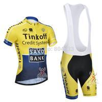 Free Shipping!2014 Team Tinkoff - Saxo Bank Cycling Jersey and Cycling Bib Shorts Kit/cycling clothes/bike clothesSize:S-XXXL