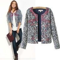 2014 new European and American style retro print blue and white round neck jacket women blazer women embroidery slim outwear 662