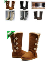 Hot Sale Women's three bailey button Boots Real Leather Snow Boots  classic tall boots shoes1873  one button 5803 with gift