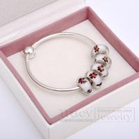 2014 New Arrival! Handmade Women Bangles with Murano Beads B025 for European Pandora(1box&5beads&1bangele) Gift for Xmas