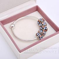 2014 New Arrival! Handmade Women Bangles with Murano Beads B026 for European Pandora(1box&5beads&1bangele) Gift for Xmas