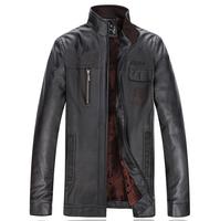 New 2014 Men'S Winter Jacket Stand Collar Plus Velvet Thick Leather Jacket Men Brand Coat  Men'S Classic Leather Jackets XG-215