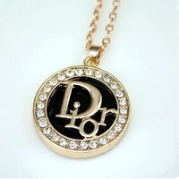 (At least $10) France 2014 new arrival luxury Top Quality Round Clear Zirconia Diamonds C Two Moon Elegant women necklace