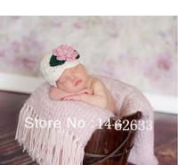 Free shipping new style pink flower baby hat handmade crochet photography props newborn baby cap(China (Mainland))
