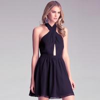 Women New Fashion Black Chiffon Short Style Dress Chiffon Patchwork Front Cross Slim Waist Strapless Backless Sexy Dress D497