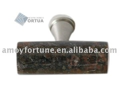 drawer knob granite knob with metal and Tan Brown(China (Mainland))