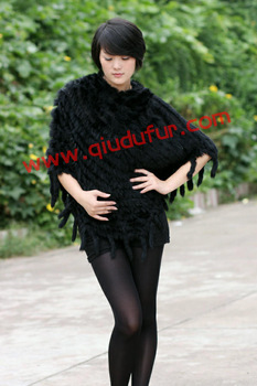 QD0639 Genuine Knitted Rabbit Fur  Poncho Sweaters Fashion Women Warmer  Garment  Hot Sale/Wholesale/Retail OEM