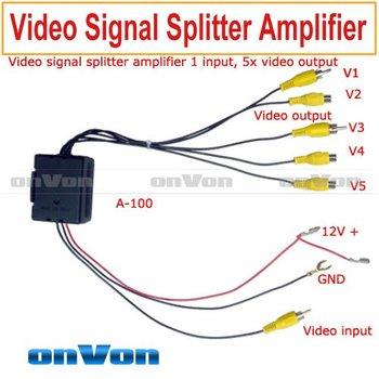 RCA Video signal splitter amplifier booster 1 input, distribute 5 output