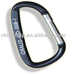 D shaped carabiner material is aluminum can screen printing or laser engrave logo on it(China (Mainland))