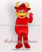 Mascot Costume Red Cattle bull cow Fursuit Fancy Dress Adult Halloween free shipping