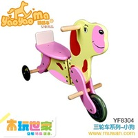 <BENHO/HIGH QUALITY WOODEN TOY>Wooden bike-Dog