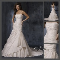 Fast Free Shipping!M9O31*White Taffeta Strapless Train Wedding Gown Bridal Dress