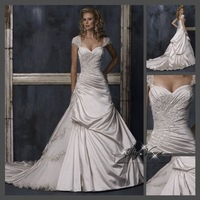 Fast Free Shipping!M9O16*White Satin Bridal Gown Wedding Dress