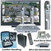 FREE SHIPPING- Hard Disk Karaoke player+Wireless Magic Digit Microphone +8Pcs SD song Card Slots & 160GB Hard Disk (optional)