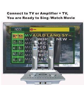 FREE SHIPPING-Portable Karaoke Player+Digit Microphone+8Pcs SD Card Slot+160GB Hard Disk (optional)(KOD100+MK100)