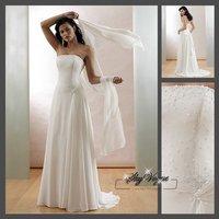 Fast Free Shipping!M7O235*White Chiffon Strapless Train  Bridal Wedding Dress Bridal Gown Bridal