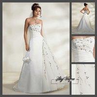 Fast Free Shipping!M7O226*White Satin Strapless Train Bridal Wedding Dress Wedding Dress Bridal