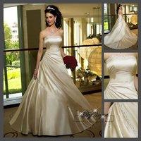 Fast Free Shipping!M7O200*Satin Strapless Train Bridal Gown Wedding dress Bridal dress