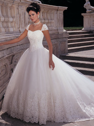 2012 New Cap Sleeves Ball Gown Wedding Dress Princess With Sweetheart Neckline EU017(China (Mainland))