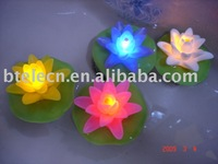 flashing led colorful float lotus for children pool toy Novelty Decoration Night Light