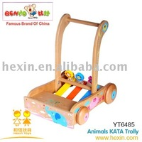 <BENHO/HIGH QUALITY WOODEN TOY>Wooden Animals KATA Trolley toy