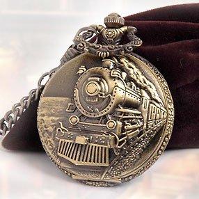 Classical Railroad Steam Train Pocket Watch Bronze Tone