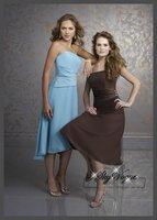 ML747*Women's Strapless Pleated Belt Short Length Bridesmaid Chiffon Little Black Dress Party Prom Custom Color Size