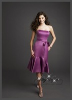 ML762*A line short strapless purple bridesmaid dress wedding party dress Birthday knee length dress
