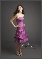 ML764* purple royal blue purple colored plus size Satin strapless party brides maid bridesmaid dresses short