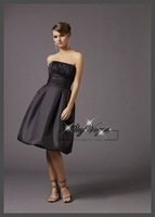 ML731*Strapless Sweet Pretty Ruching Elastic Woven Satin Short Party Bridesmaid Dress
