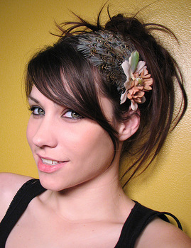 Party girl - 100% natural peacock feather headband,handmade feather hair ornament,feather headwear HW090066