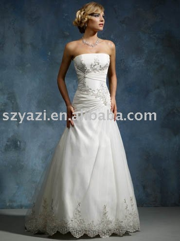 strapless a-line lace appliqued bridal dress w2045(China (Mainland))