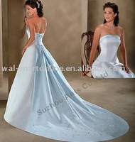 Stunning Satin Bridal Gowns Long Trail Off Shoulder Lace Decoration Colored Wedding Dresses CW035