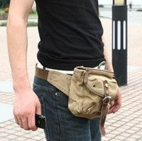 100% cotton washed canvas waist bag, 2813 khaki casual bag