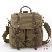 2808 khaki thick canvas bag casual style multi-function shoulder bag+tote bag+backpack
