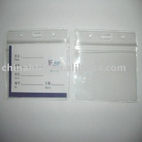 pvc card holder in soft material have rigid material with paper label can printing logo